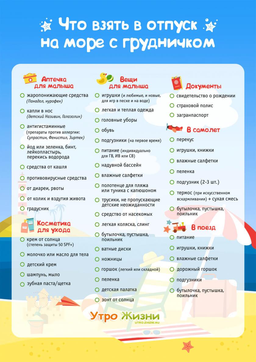 Полный список самых необходимых вещей для ребенка на море